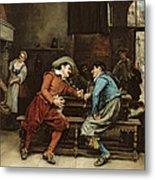Two Men Talking In A Tavern Metal Print