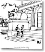 Two Men Walk Into A Library.  There Is An Metal Print