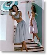 Two Models Posing With Parasols Metal Print