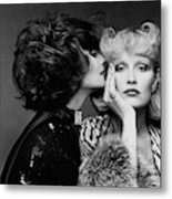 Two Models Wearing Wigs By Edith Imre Metal Print