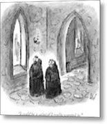 Two Monks Walk Through A Monastery Metal Print