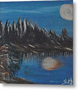 Two Moons That Meet In The Night Metal Print