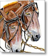 Two Mules - Enhanced Color - Farmer's Friend Metal Print