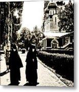 Two Nuns - Sepia - Novodevichy Convent - Russia Metal Print