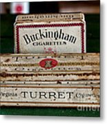 Two Old Cigarette Boxes Metal Print