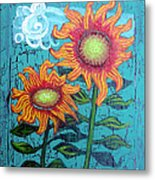 Two Orange Sunflowers Metal Print