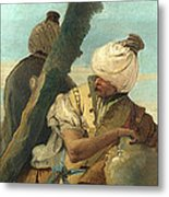 Two Orientals Seated Under A Tree Metal Print