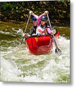 Two Paddlers In A Whitewater Canoe Making A Turn Metal Print