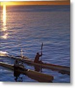 Two Paddlers In Sea Kayaks At Sunrise Metal Print