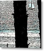 Two Palms Sailboat And Swimmer Metal Print by Brian D Meredith