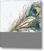 Two Peacock Feathers Metal Print