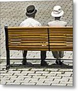 Two People Seated On A Bench Metal Print