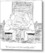 Two People Sit At A Table Metal Print