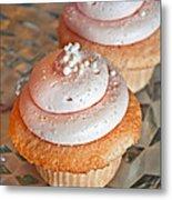 Two Pink Cupcakes Art Prints Metal Print