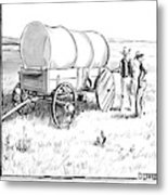 Two Pioneers Discuss The Wheels Of Their Wagon Metal Print