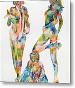 Two Psychedelic Girls With Chimp And Banana Portrait Metal Print by Fabrizio Cassetta