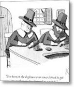 Two Puritan Men Sit At A Bar Together Metal Print