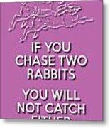 Two Rabbits Violet Metal Print