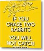 Two Rabbits Yellow Metal Print