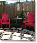 Two Red Chairs Metal Print