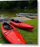 Two Red Kayaks Metal Print