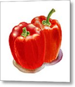 Two Red Peppers Metal Print