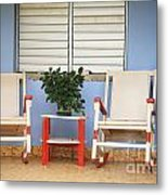 Two Rocking Chairs On The Porch Metal Print