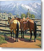 Two Saddle Horses Metal Print
