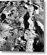 two sets of fresh footprints crossing deep snow in field Forget Saskatchewan Canada Metal Print by Joe Fox