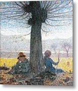 Two Shepherds On The Fields Of Mongini Metal Print