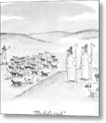 Two Shepherds With Conventional Sheep Look Metal Print