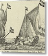 Two Ships A Statenjacht And An Interpreter Metal Print