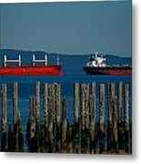 Two Ships Passing In The Metal Print by Mamie Gunning