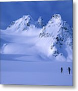 Two Skiers Ski Tour And Explore Metal Print