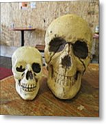 Two Skulls - At The Cafe Metal Print