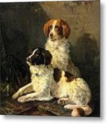 Two Spaniels Waiting For The Hunt Metal Print