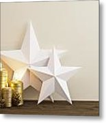 Two Stars With Golden Candles Metal Print