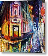 Two Streets - Palette Knife Oil Painting On Canvas By Leonid Afremov Metal Print