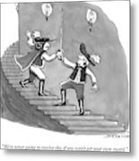 Two Swordfighters On A Staircase Grasp The Handle Metal Print