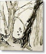 Two Tree Drawing Metal Print