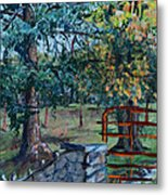 Two Trees And A Gate Metal Print