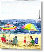 Two Umbrellas On The Beach California  Metal Print