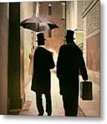 Two Victorian Men Wearing Top Hats In The Old Alley Metal Print
