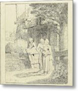 Two Women And A Man On A Farm, Print Maker Marie Lambertine Metal Print
