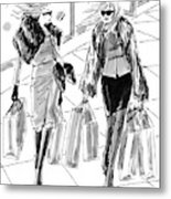 Two Women Dressed Nicely Walk Together Carrying Metal Print