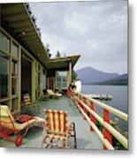 Two Women On The Deck Of A House On A Lake Metal Print