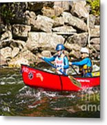 Two Women Paddling A Whitewater Canoe Metal Print
