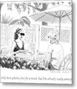 Two Women Speak At A Cafe Speak Metal Print