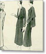 Two Women Wearing A Chanel Jersey Suit Metal Print