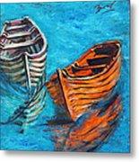 Two Wood Boats Metal Print by Xueling Zou